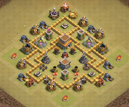 clash of clans town hall 6 war base