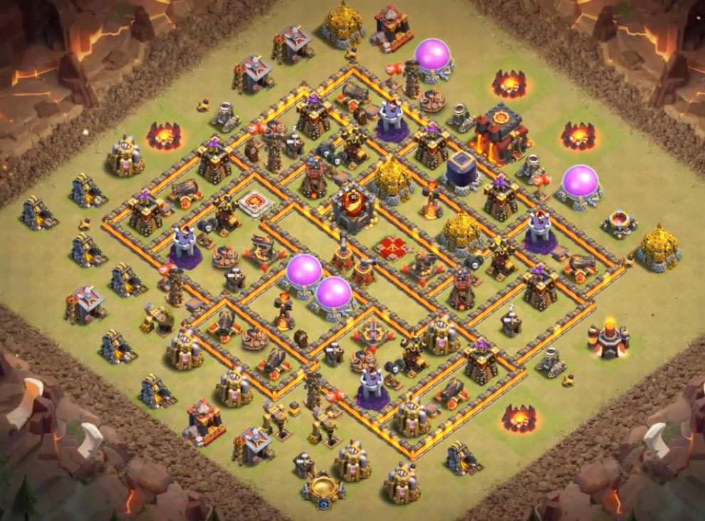 anti 3 stars th10 war base anti all troops