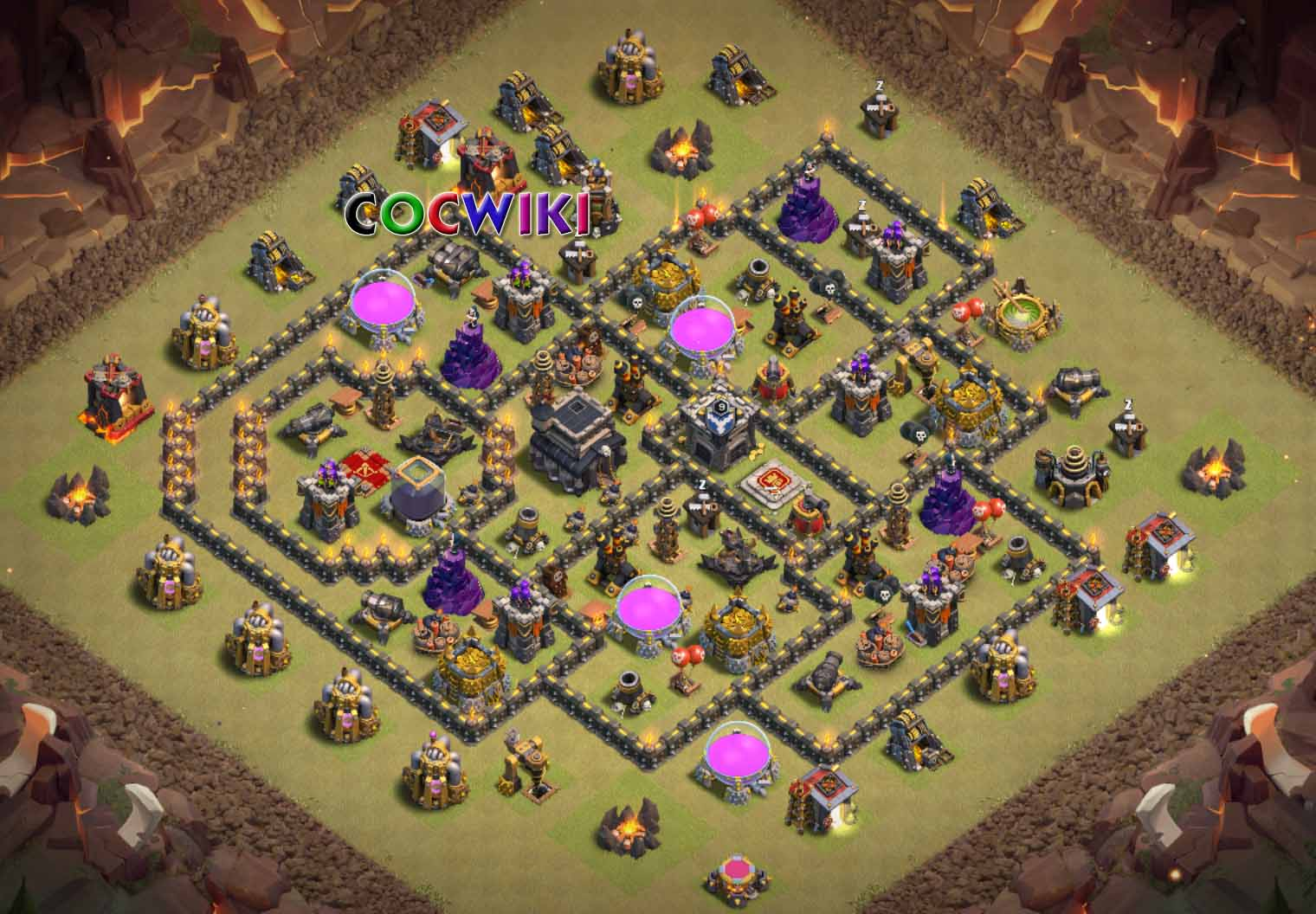 clash of clans town hall 9 war base anti 3 stars
