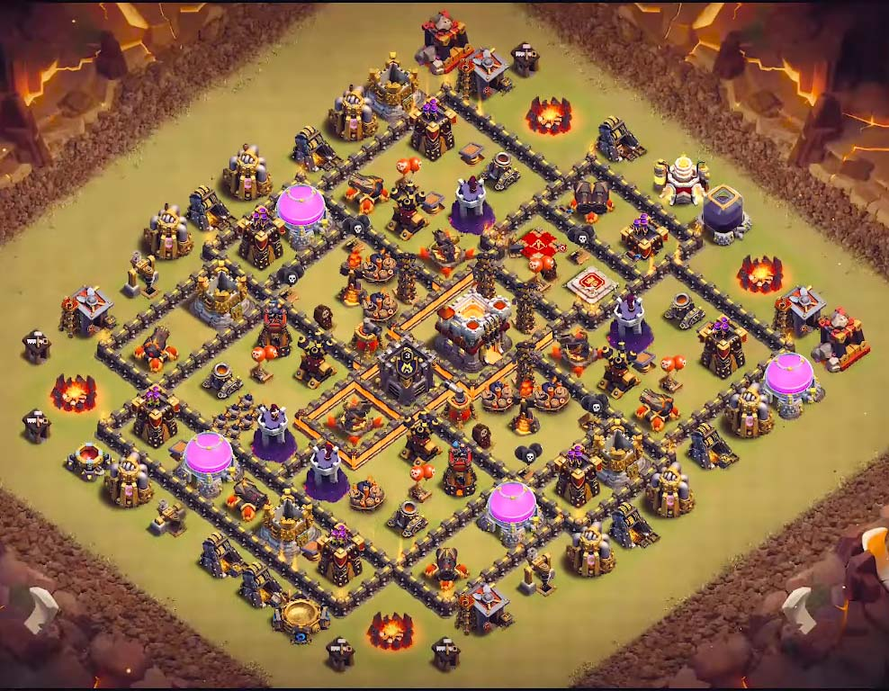 coc th10 base anti valkyrie and anti bowlers